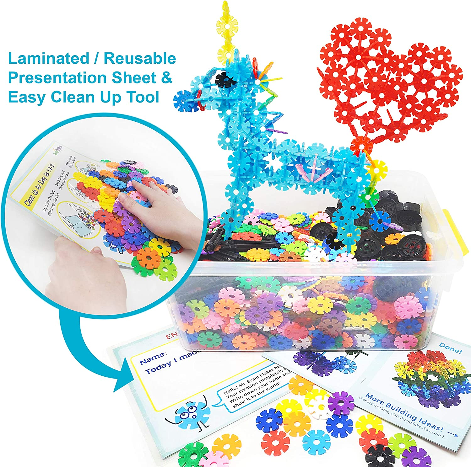 Piece Build n Build Kit Wheel Pieces /& Special Parts Included! A Great STEM Toy for Both Boys and Girls! A Creative and Educational Alternative to Building Blocks VIAHART Brain Flakes 2500