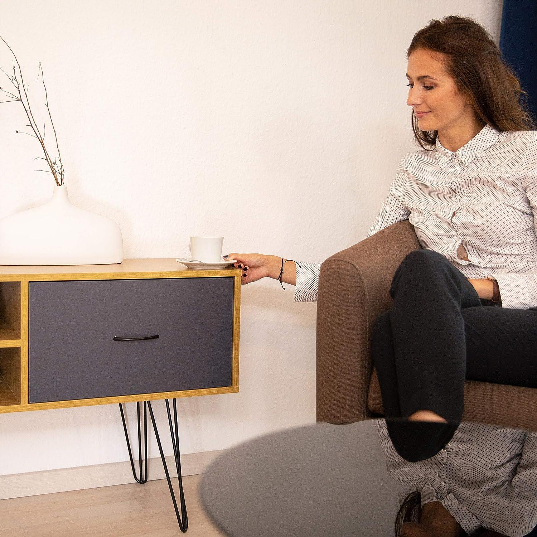 relaxdays Console Design rétro Vintage Table d'appoint 80s tiroir Sideboard Pieds métal HxlxP: 62x100x38 cm, coloré, MDF, Multicolore, 62 x 100 x 38 cm