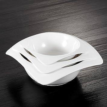 juego de cuencos 3 piezas MALACASA serie Rosana cuencos de porcelana 10 y 8.25 y 6.75 pulgadas cuencos de ensalada cuencos de sopa