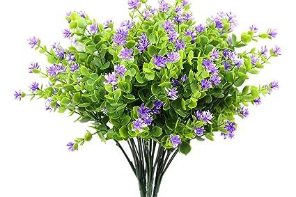 Kingbuy Artificial Flowers 6 Bundles Outdoor UV Resistant Plants Shrubs  Plastic Leaves Fake Bushes Greenery For