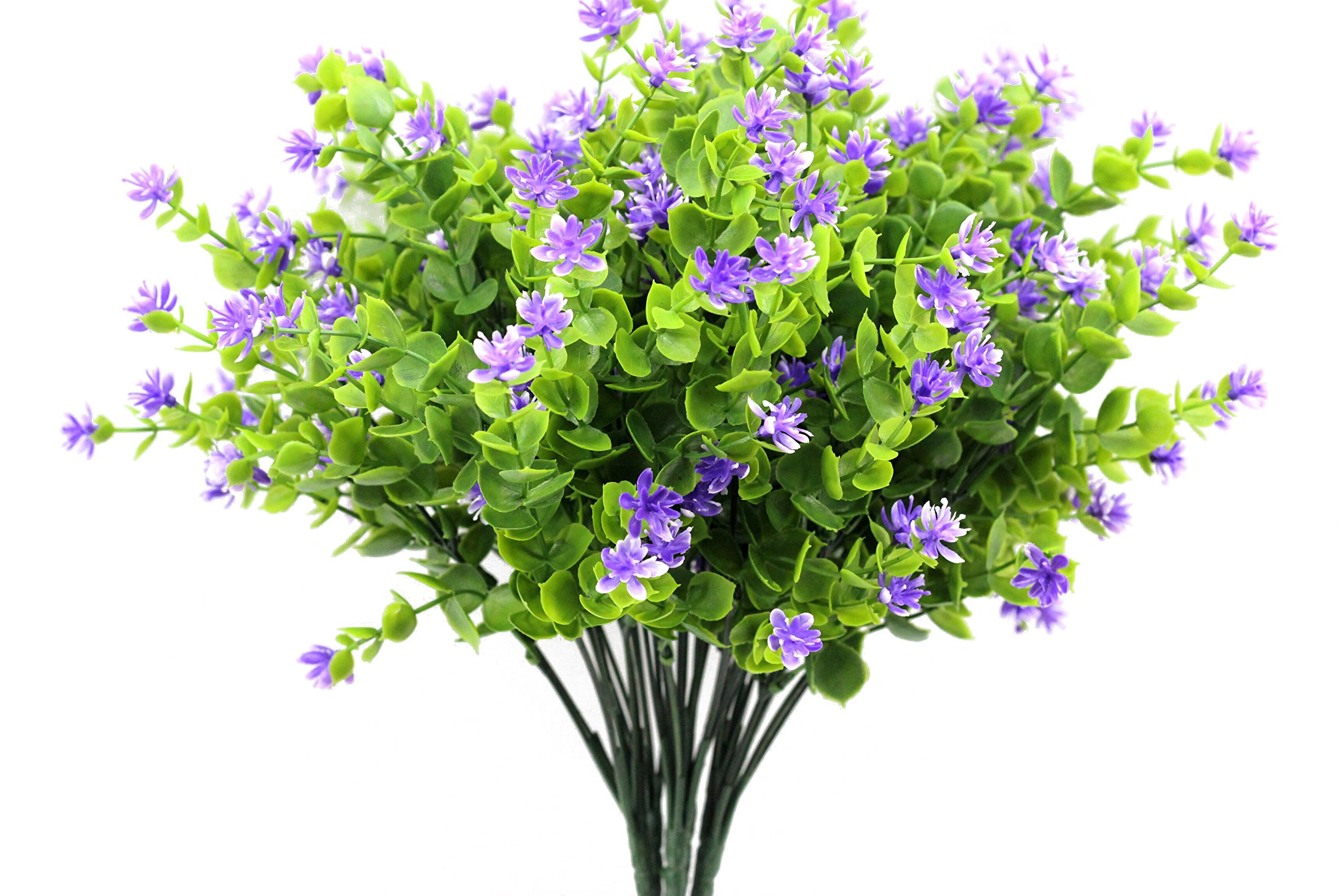 kingbuy Artificial Flowers 6 Bundles Outdoor UV Resistant Plants Shrubs Plastic Leaves Fake Bushes Greenery for Plants Indoor Outside Hanging Planter Home Patio Yard Garden Decor Window Box