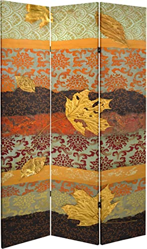 ORIENTAL Furniture Tall Double Sided October Gold Canvas Room Divider, 7