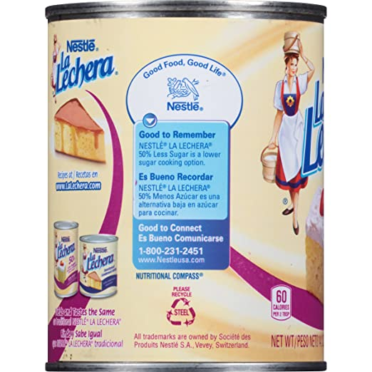 Amazon.com : La Lechera 50% Less Sugar Sweetened Condensed Dairy ...