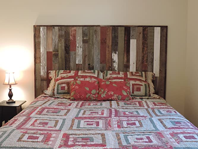 buy online f5911 d40f7 King Size Panel Head Board Reclaimed Barn Wood Wall Mounted Frame Real  Weathered Rustic Bedroom Western Furniture Decorative Farm House Style  Modern ...