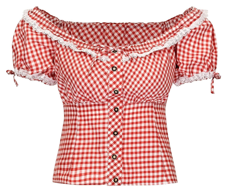 Details zu TrMartha Trachten Damen Trachtenbluse Carmenbluse Rot-kariert – trachtenbluse  damen – oktoberfest – trachtendirndl – dirndl bluse e50a53bfbb