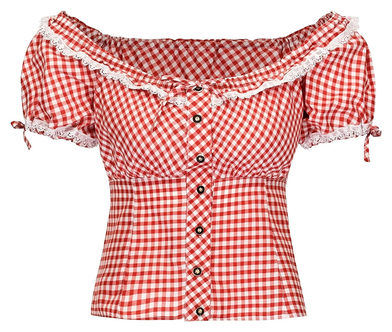 TrMartha Trachten Damen Trachtenbluse Carmenbluse Rot-kariert - trachtenbluse damen - oktoberfest - trachtendirndl - dirndl bluse