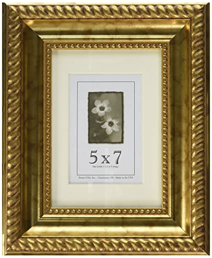 5x7 Wood Picture Frame, (Antique Gold)