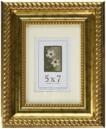 Amazoncom 5x7 Wood Picture Frame Antique Gold Single Frames