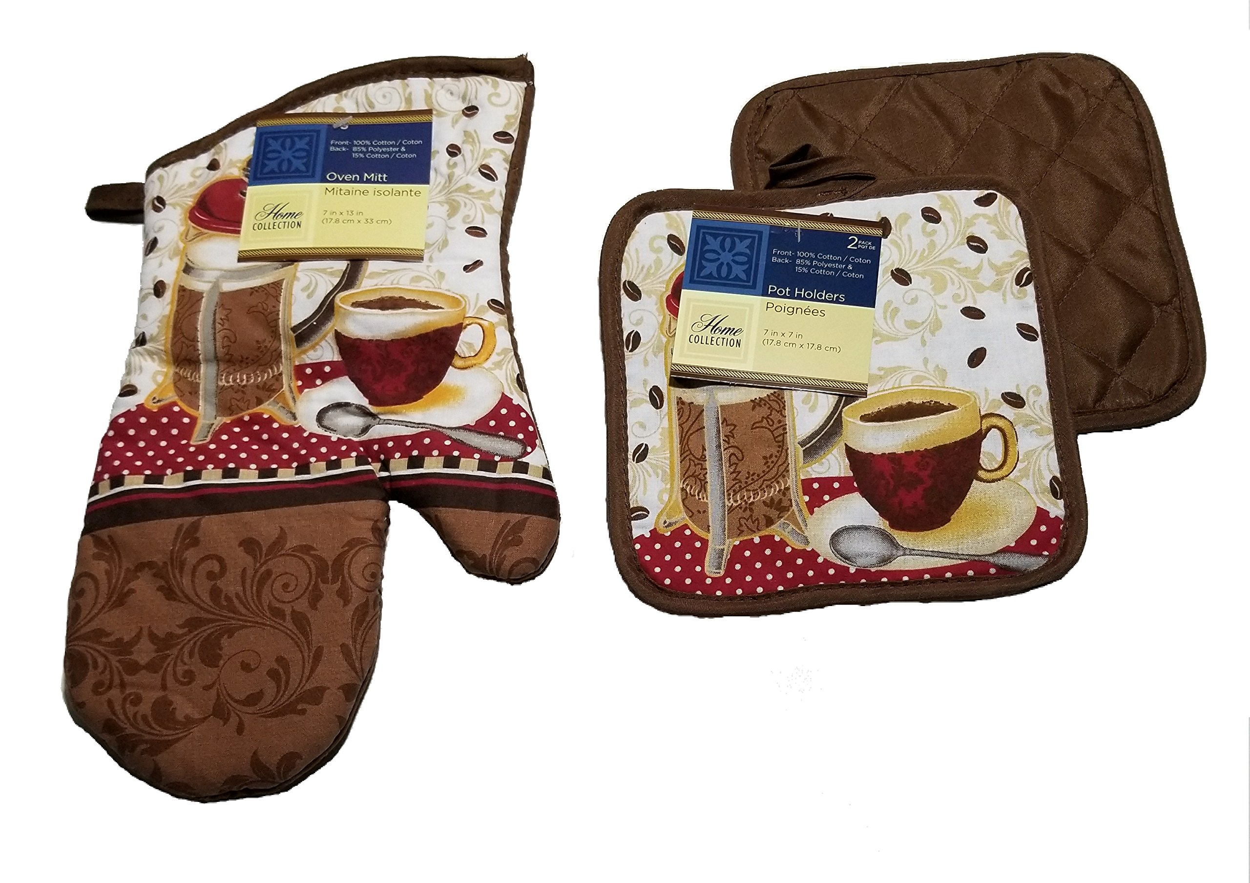 Home Collection 3 Piece Coffee Theme Kitchen Linen Set by One Oven Mitt & Two Pot Holders