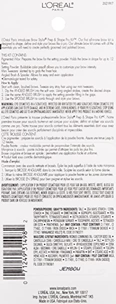 LOreal Paris Cosmetics Stylist Prep and Shape Brow Liner Kit ...