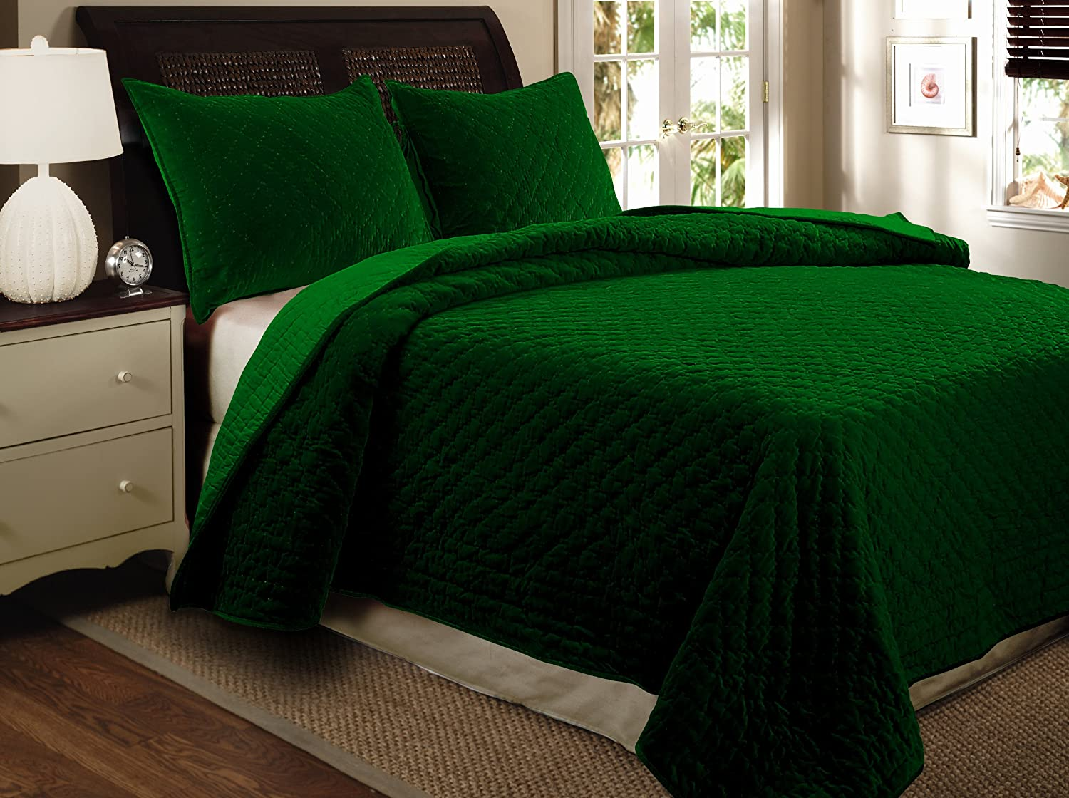 Greenland Home Cotton Velvet Full/Queen Quilt Set, Emerald GL-1004EQ