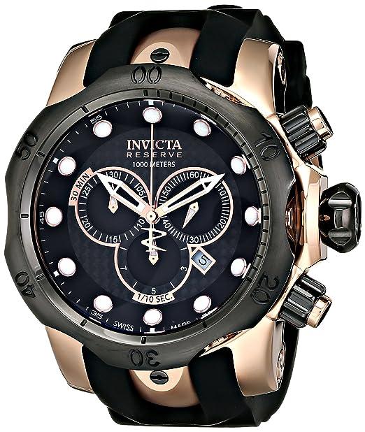 lujo sitio web profesional proporcionar una gran selección de Invicta Men's 0361 Reserve Collection Venom Chronograph Black Polyurethane  Watch