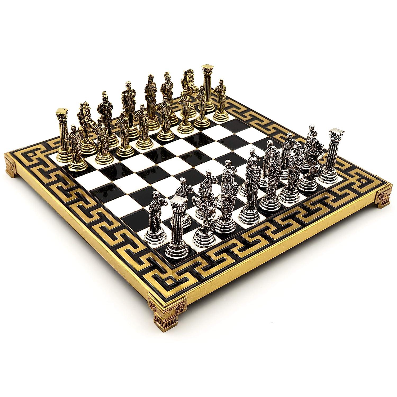 Helcee Handmade Romans Metal Chess Set in Wooden Box