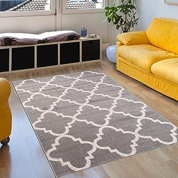 Teppich grau kurzflor rund  Amazon.de: Teppich Wohnzimmer Grau Silber 80 x 150 cm Designer ...
