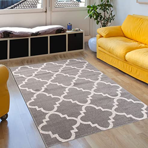 Amazon.de: Teppich Wohnzimmer Grau Silber 120 x 170 cm Designer ...