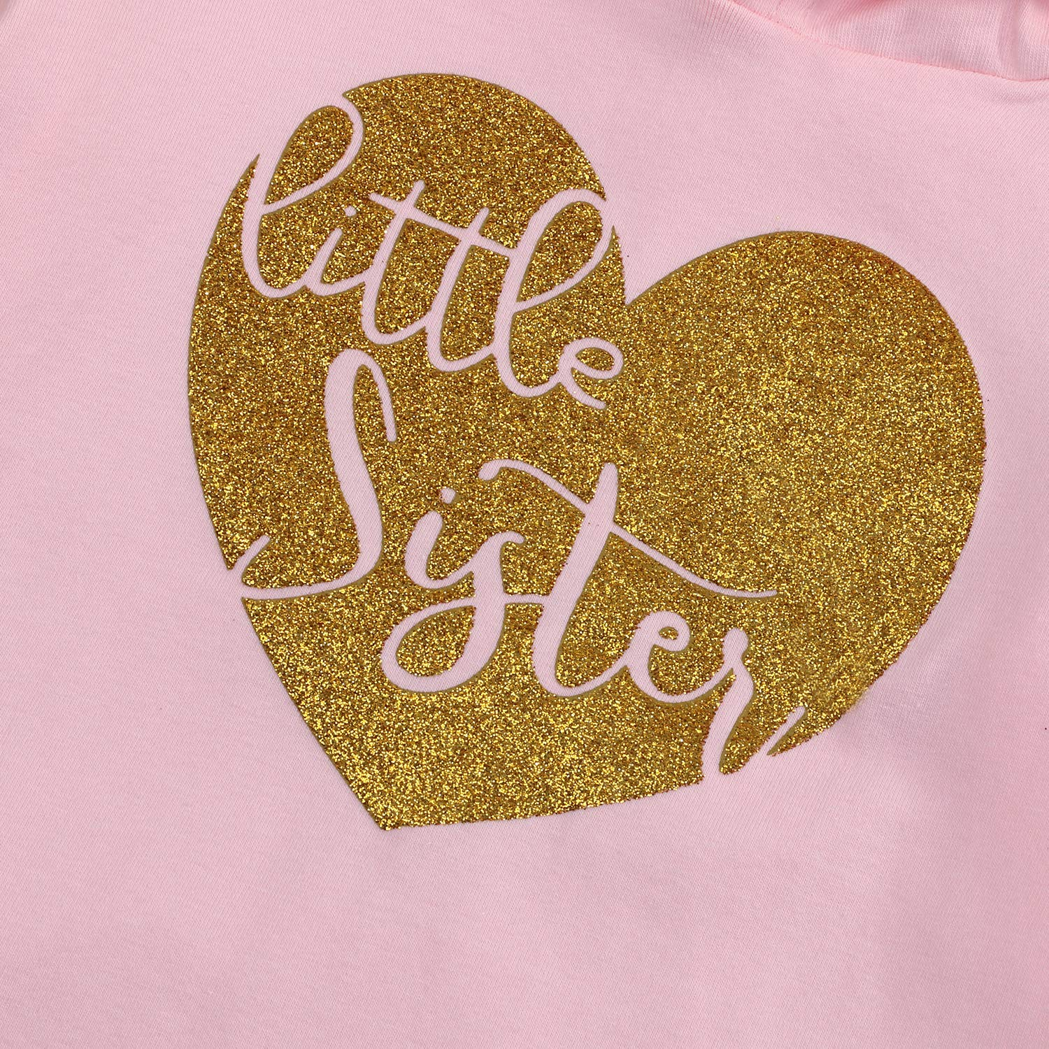 YOUNGER TREE Infant Baby Toddler Girls Hoodie Little Sister Matching Big Sister Hooded Top Sweatshirt Long Sleeve Shirt