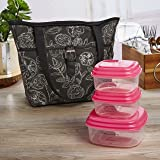 Fit & Fresh Delano Insulated Lunch Bag Kit for Women, Includes Container Set and Ice Pack, Black & White Floral