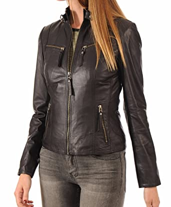 Leather Farm Women S Lambskin Leather Bomber Biker Jacket Brown At