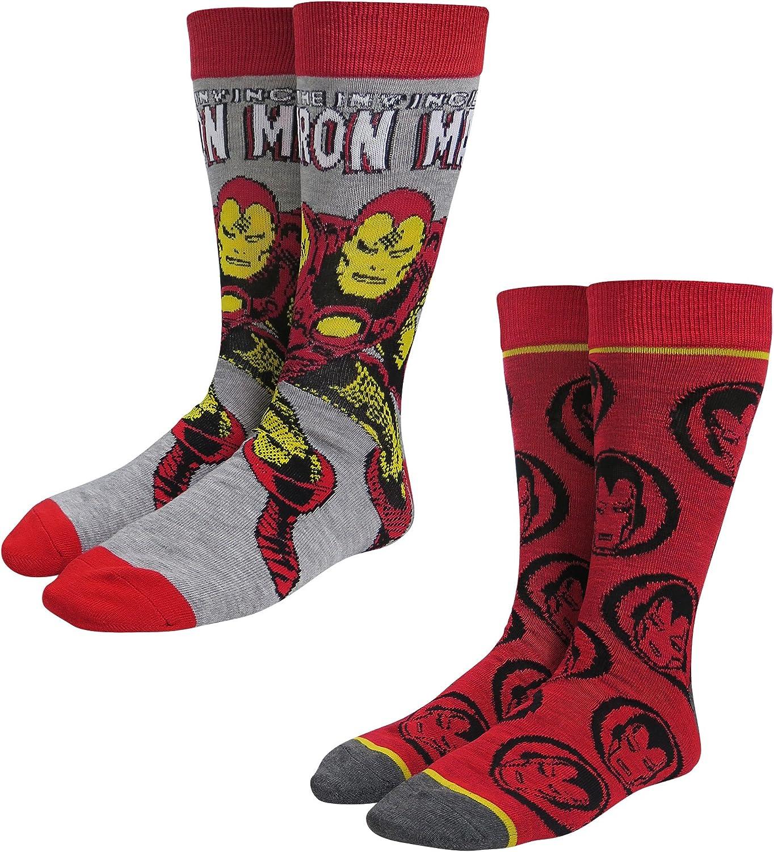Iron Man Marvel 2 Pack Men's Crew Socks, Red