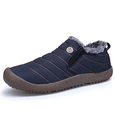 DAFENP Stivaletti Caviglia Uomo Neve Stivali Invernali Scarpe Caldo  Pelliccia Antiscivolo Boots Piatto All aperto cf1c57a7f66