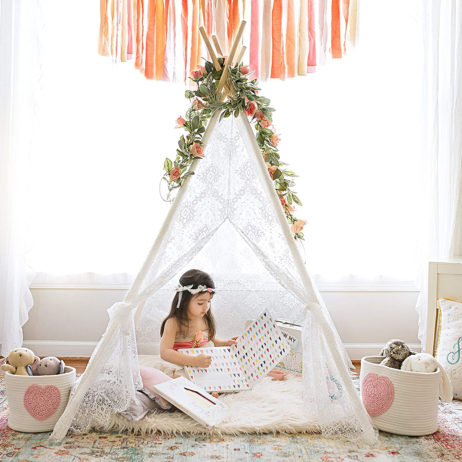Kids Teepee Tent for Girls, Sheer Lace Indoor and Outdoor Canopy and Creative Play Space | White Room Decor | Bohemian Theme Lace TINY LAND INC.