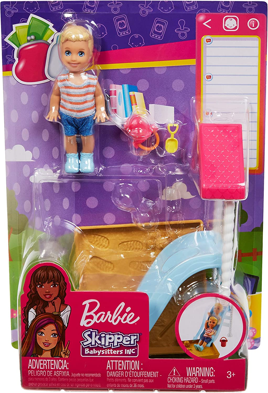 Barbie SKIPPER BABYSITTER narrazione mini doll toy playset Slide//Tenda neww