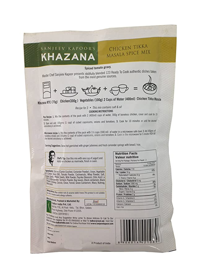 Sanjeev Kapoor S Khazana Spice Mix Chicken Tikka Masala 75g Pack Amazon In