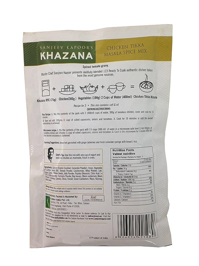 Sanjeev Kapoor S Khazana Spice Mix Chicken Tikka Masala 75g Pack Amazon In