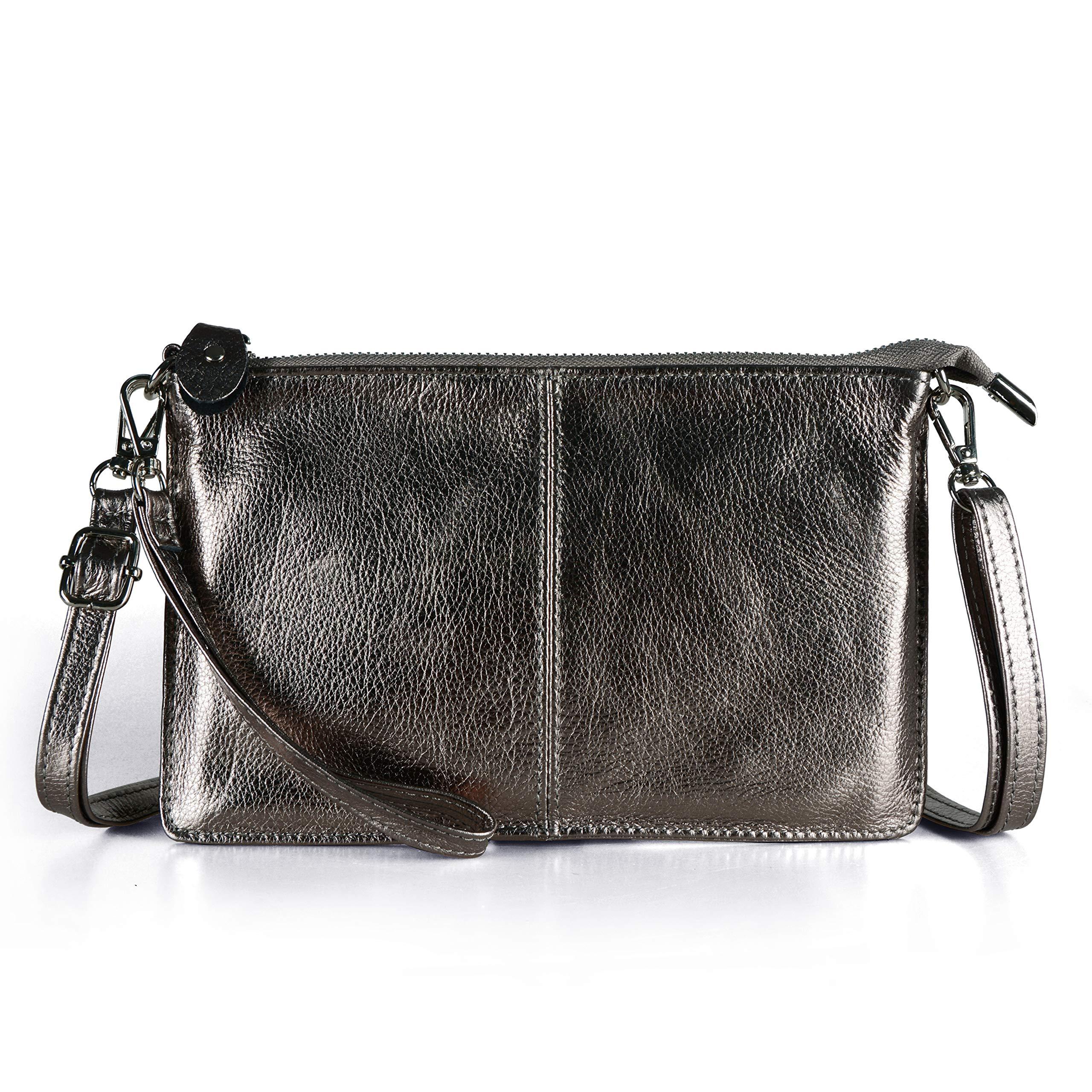 Befen Women Leather Wristlet Wallet Shoulder Crossbody Bag Clutch Purses with 6 Card Slots/Wrist Strap/Crossbody Strap - Gunmetal Grey
