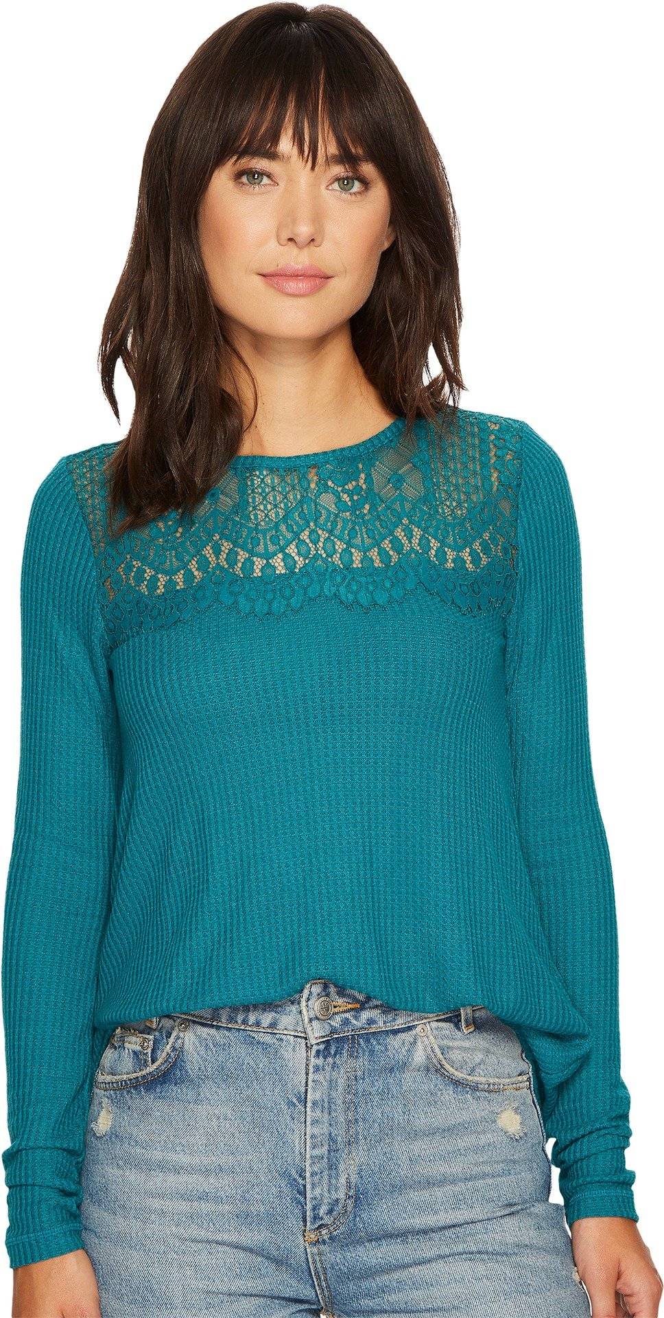 Lucky Brand Women's Lace Collar Thermal Top, Shaded Spruce, Medium
