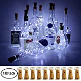 Wine Bottle Lights with Cork, LoveNite 10 Pack Battery Operated LED Cork Shape Silver Copper Wire Colorful Fairy Mini String Lights for DIY, Party, Decor, Christmas, Halloween,Wedding (Cool White)