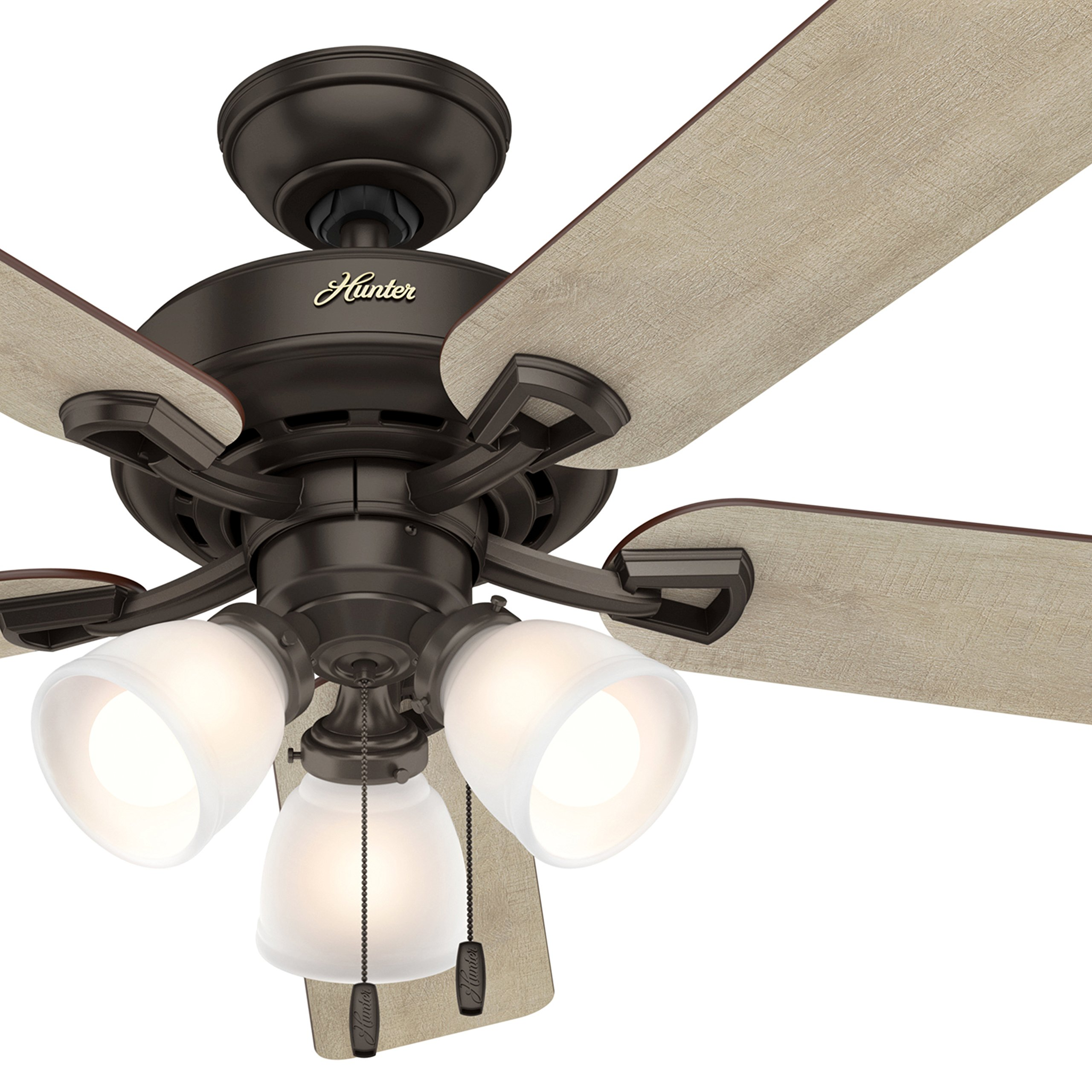 Hunter Fan 52'' LED Ceiling Fan with 3 Lights in Premier Bronze, 5-Blade (Certified Refurbished)