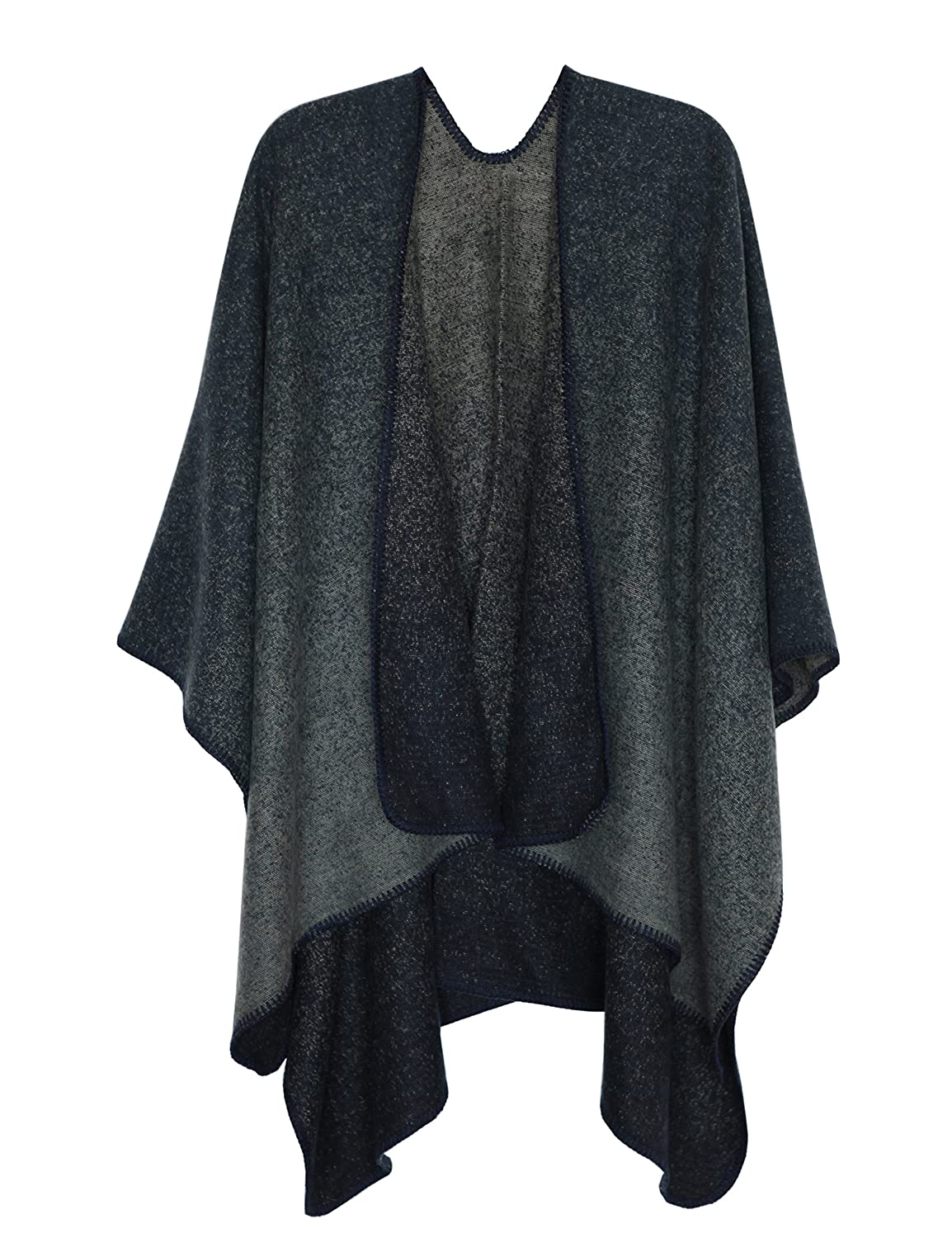 MissShorthair Women's Printed Shawl Wrap Fashionable Open Front Poncho Cape 2018CPoncho-1