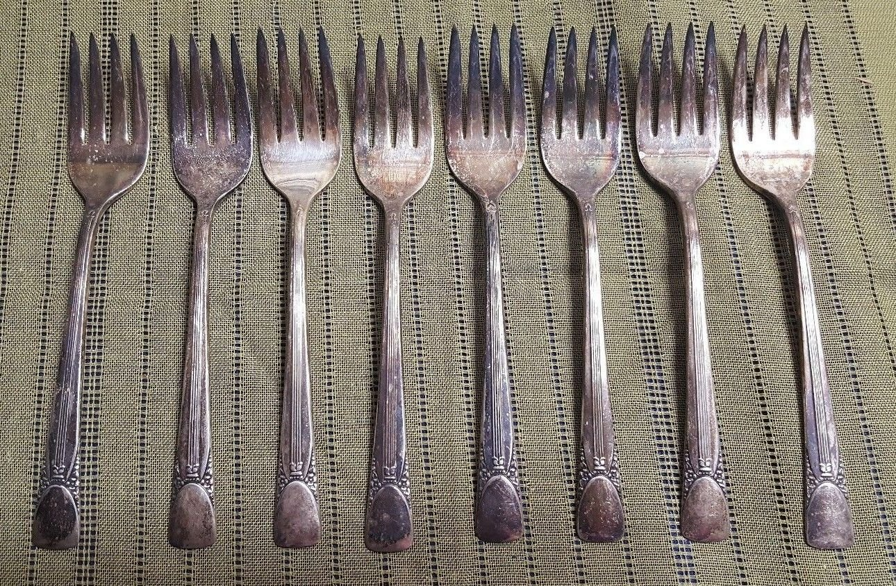 8 EMBASSY Silverplate Salad Forks Set of 8