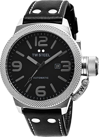 cab70df0dd TW Steel Canteen automática – esfera negra FECHA TW Steel Reloj para hombre  – Correa de