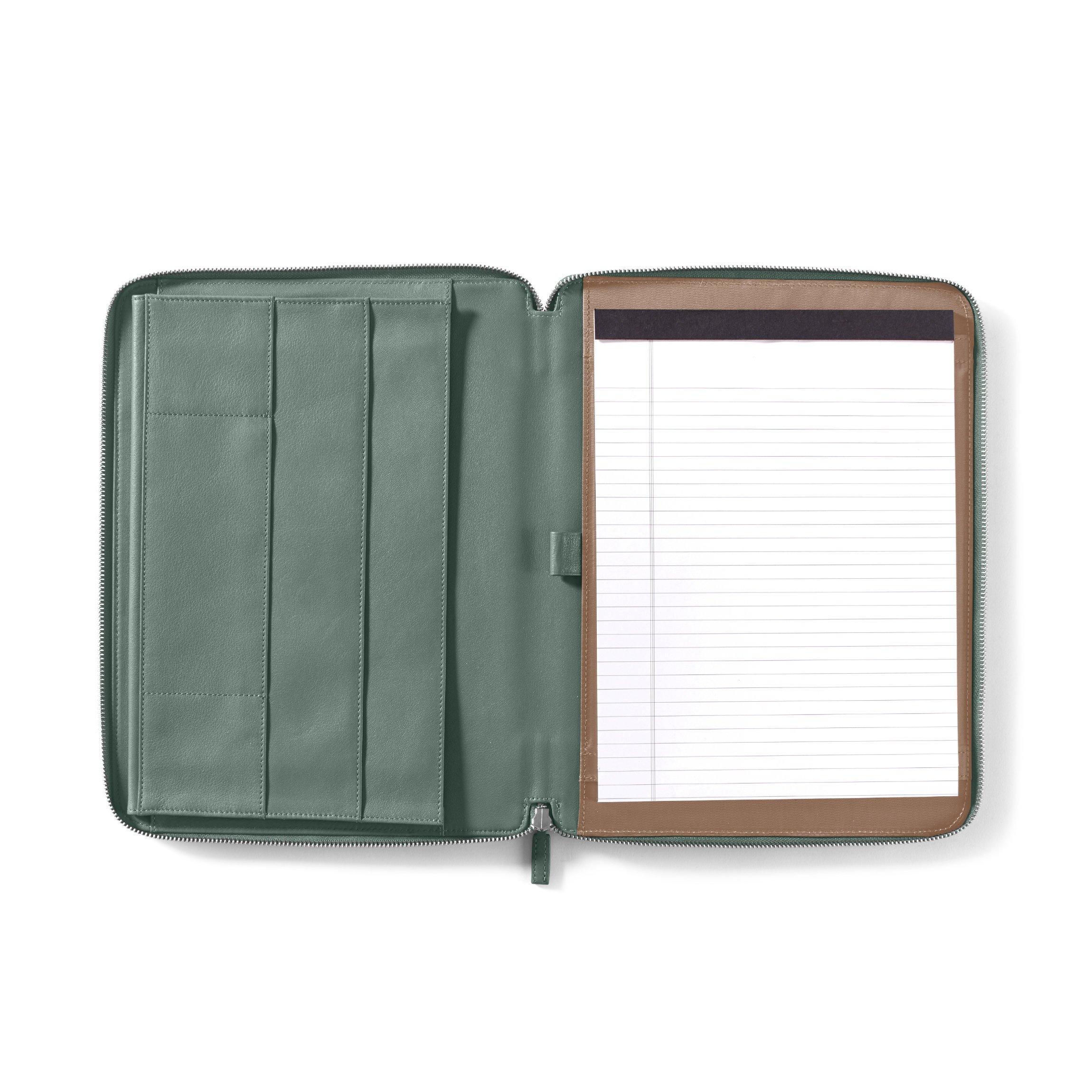Leatherology Executive Zippered Portfolio with Interior iPad Pocket - Full Grain Leather Leather - Dusk (blue)