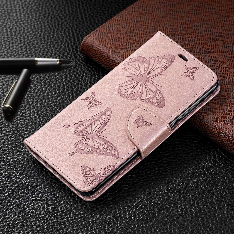Dclbo H/ülle f/ür Huawei P30 Pro Handytasche H/ülle Flip Case Leder Beirftasche Schutzh/ülle Lederh/ülle mit Kartenfach Magnetverschluss Etui Klappbar Tasche Cover f/ür Huawei P30 Pro-Rose Gold