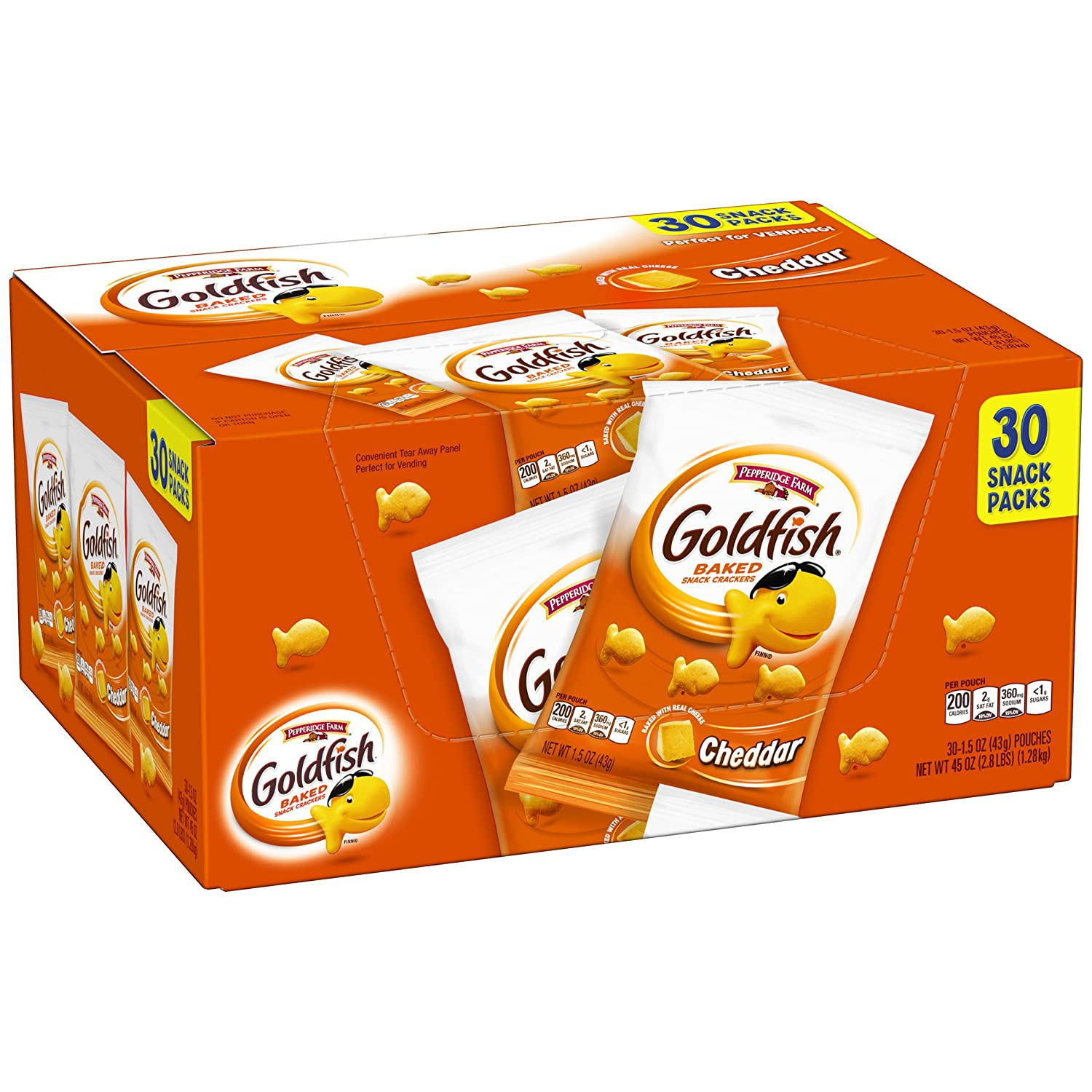 Pepperidge Farm Goldfish Cheddar Crackers, 1.5 Ounce Snack Packs, 30 Count