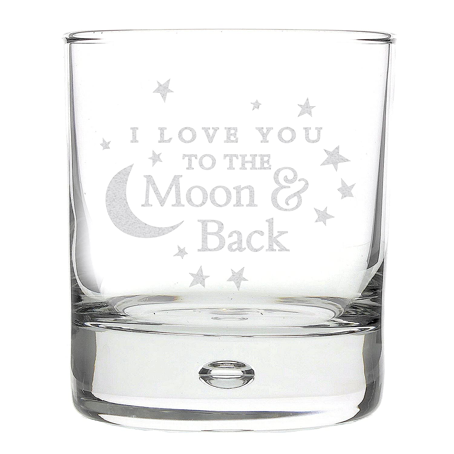 I LOVE YOU TO THE MOON AND BACK Bubble WHISKY GLASS for my Him Her Men Women  Wife Husband Friend Novelty Idea Gifts Presents Valentines Day Birthday ... 18e575ab6