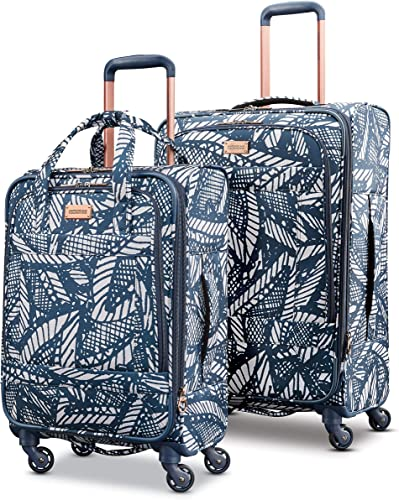 American Tourister Belle Voyage Softside Luggage with Spinner Wheels, Floral Indigo Sand, 2-Piece Set 21 25