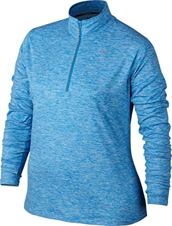 Nike Women's PLus Size Element Half Zip Long Sleeve Running Shirt (Lt Photo  Blue,