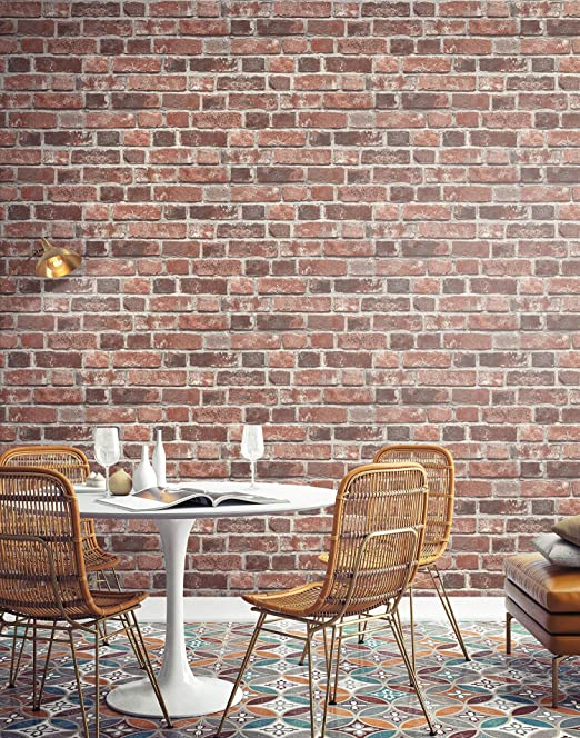 Amazon Com Transform Red Brick Peel And Stick Wallpaper Home Kitchen