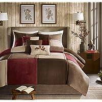 Madison Park Jackson Blocks 7 Piece Comforter Set, California King, Red