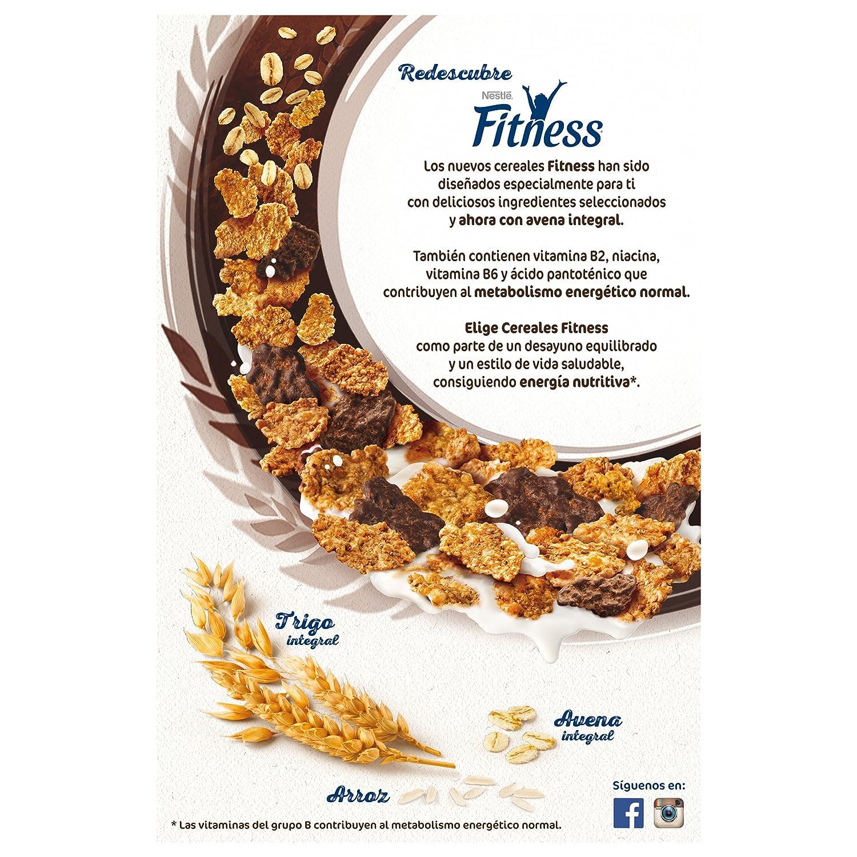 Fitness Copos de trigo integral y arroz tostados (el 29% recubiertos de chocolate negro) - 600 gr: Amazon.es: Alimentación y bebidas