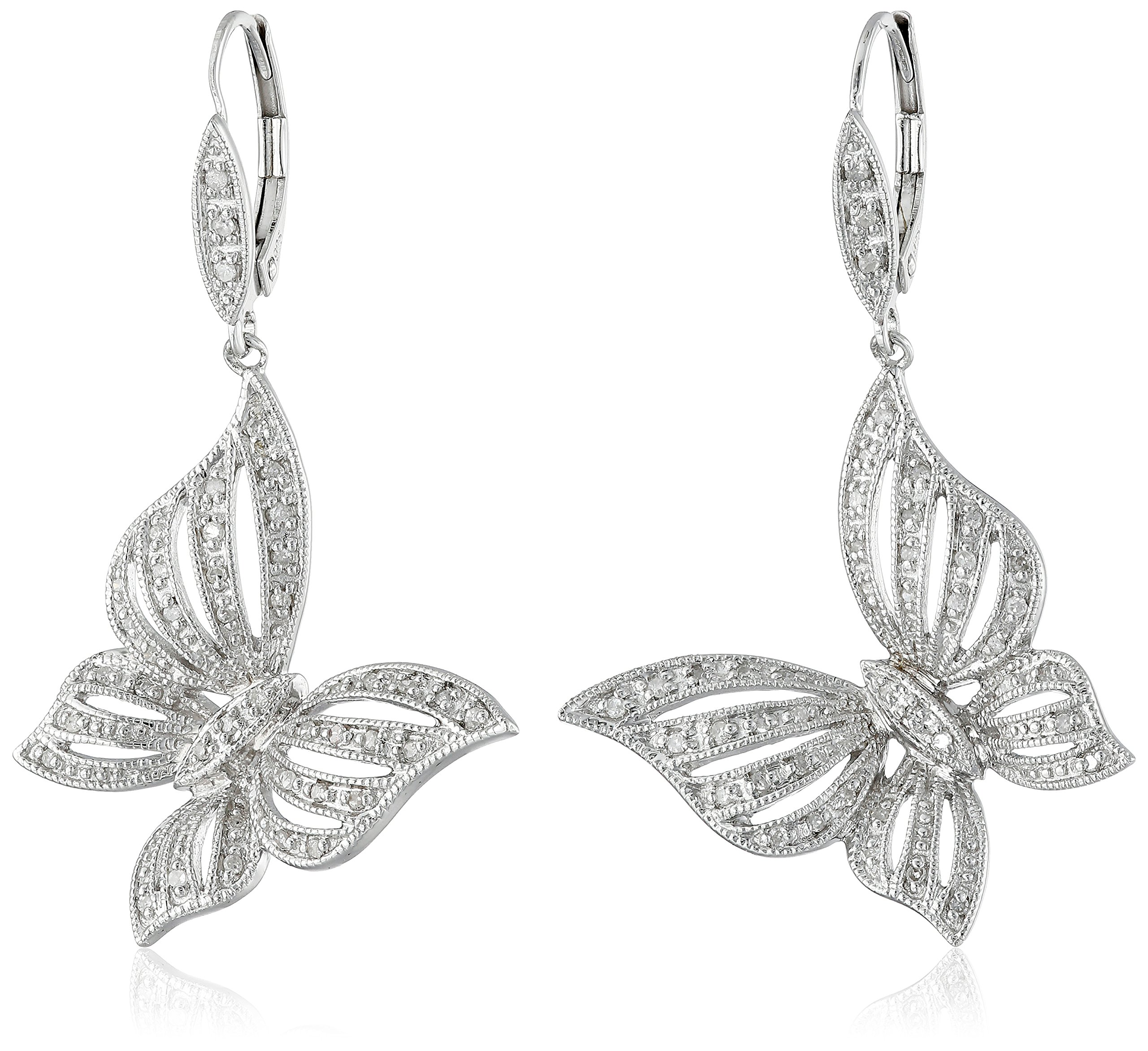 Silver Butterfly Diamond Earrings (1/4 cttw, I-J Color, I2-3 Clarity)