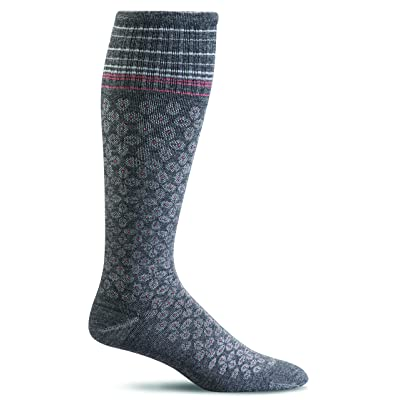 Sockwell Womens Floral Pindot Moderate Compression Knee High Socks - Charcoal SW20W