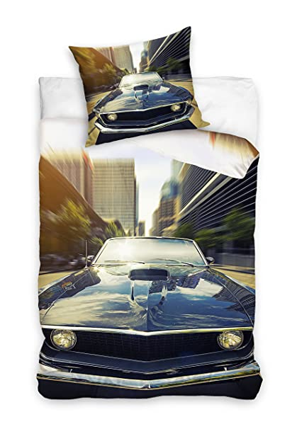 M M Ford Mustang Reversible Duvet Cover Set 100 Cotton 160 X 200 Cm