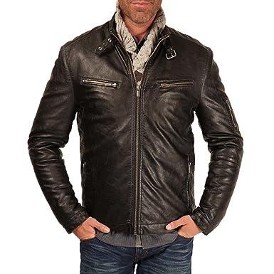 CARNET DE VOL Blouson faux cuir noir S: : Vêtements