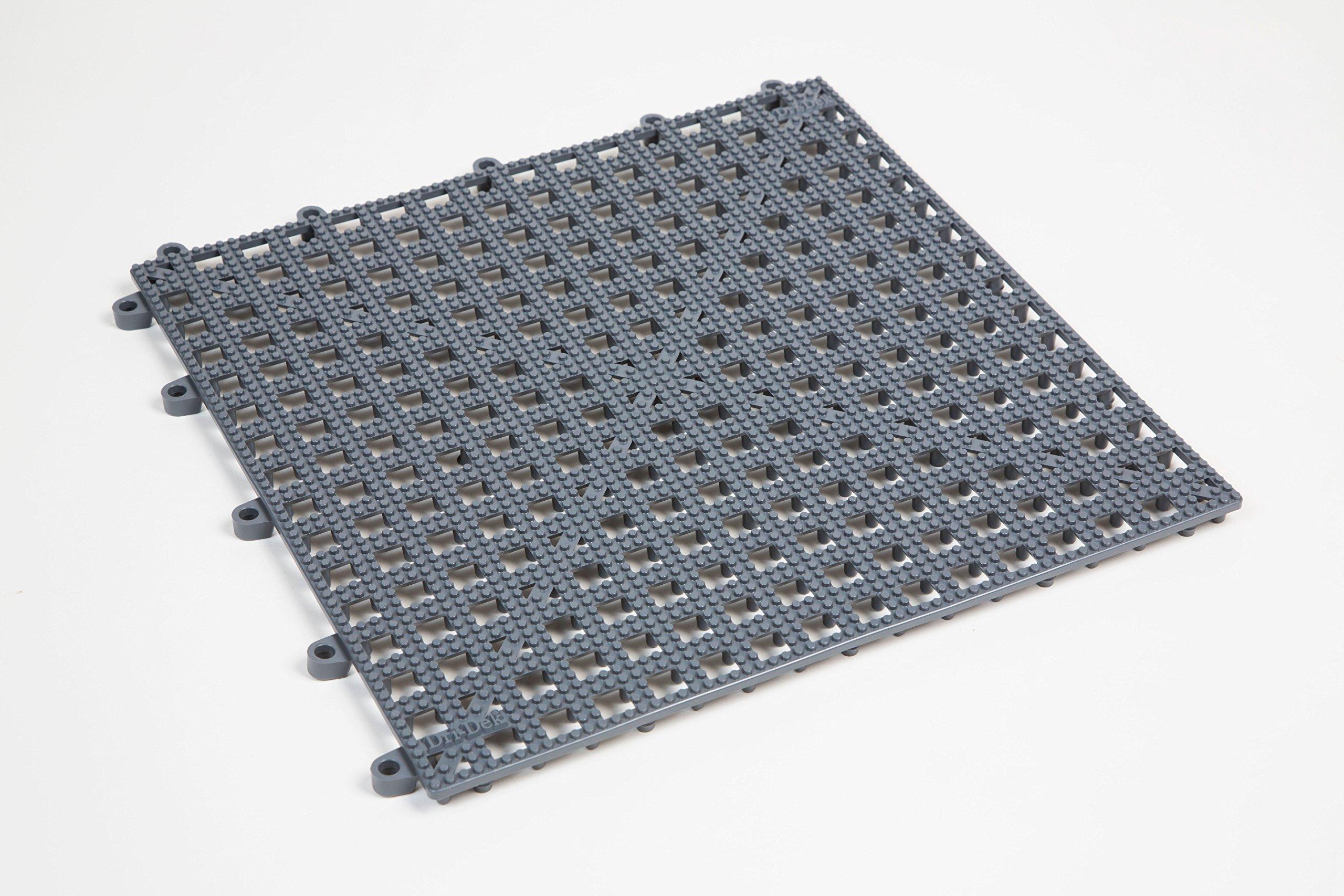 Dri-Dek 1'x1' Interlocking Tiles - Flexible Patio, Porch, Lanai, Balcony, Basement & Pool Deck Flooring (1'x1' Tiles - 50-Pack, Gray)