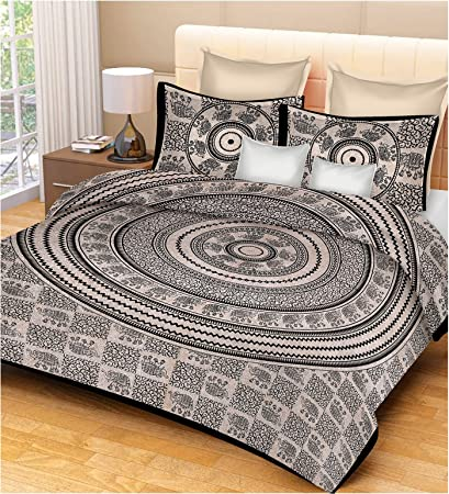 Lakshita Enterprises 100% Cotton Mandala 120 TC Double Bedsheet Mandala Printed Design Without Pillow Covers -King Size, Black & White